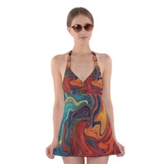 Creativity Abstract Art Halter Dress Swimsuit