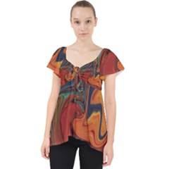 Creativity Abstract Art Lace Front Dolly Top