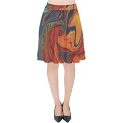 Creativity Abstract Art Velvet High Waist Skirt