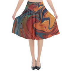 Creativity Abstract Art Flared Midi Skirt