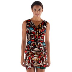 Decoration Art Pattern Ornate Wrap Front Bodycon Dress