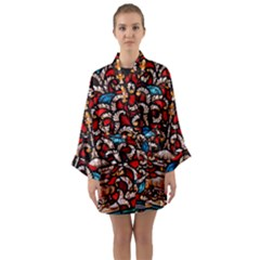 Decoration Art Pattern Ornate Long Sleeve Kimono Robe