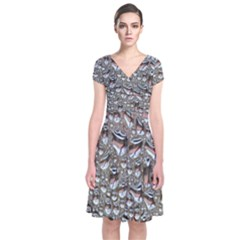 Droplets Pane Drops Of Water Short Sleeve Front Wrap Dress