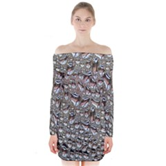 Droplets Pane Drops Of Water Long Sleeve Off Shoulder Dress