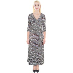 Droplets Pane Drops Of Water Quarter Sleeve Wrap Maxi Dress