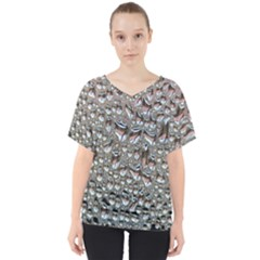 Droplets Pane Drops Of Water V Neck Dolman Drape Top
