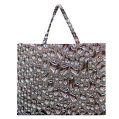 Droplets Pane Drops Of Water Zipper Large Tote Bag