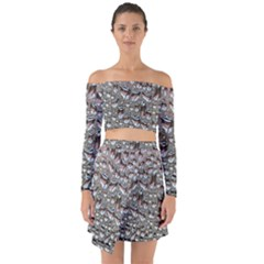 Droplets Pane Drops Of Water Off Shoulder Top With Skirt Set