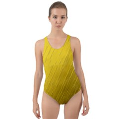 Golden Texture Rough Canvas Golden Cut Out Back One Piece Swimsuit