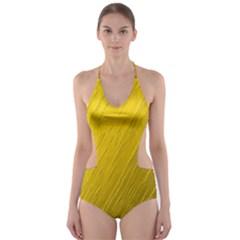 Golden Texture Rough Canvas Golden Cut Out One Piece Swimsuit