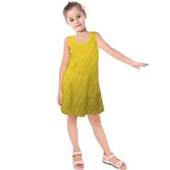 Golden Texture Rough Canvas Golden Kids  Sleeveless Dress