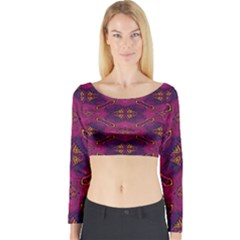 Pattern Decoration Art Abstract Long Sleeve Crop Top