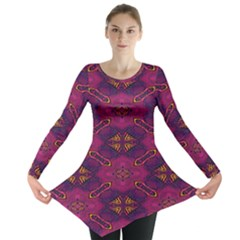 Pattern Decoration Art Abstract Long Sleeve Tunic