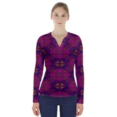 Pattern Decoration Art Abstract V Neck Long Sleeve Top