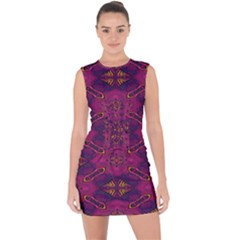Pattern Decoration Art Abstract Lace Up Front Bodycon Dress