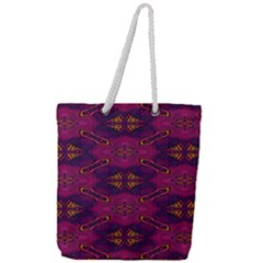 Pattern Decoration Art Abstract Full Print Rope Handle Tote (large)
