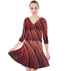 Abstract Fractal Digital Art Quarter Sleeve Front Wrap Dress