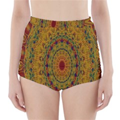 India Mystic Background Ornamental High Waisted Bikini Bottoms