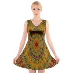 India Mystic Background Ornamental V Neck Sleeveless Skater Dress