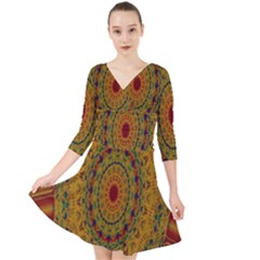 India Mystic Background Ornamental Quarter Sleeve Front Wrap Dress