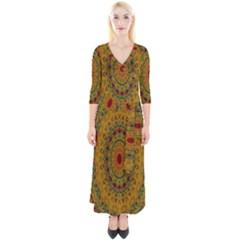 India Mystic Background Ornamental Quarter Sleeve Wrap Maxi Dress