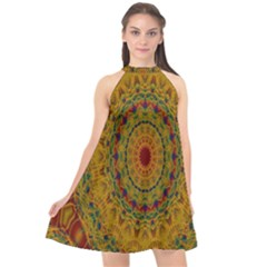 India Mystic Background Ornamental Halter Neckline Chiffon Dress
