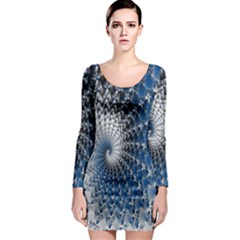 Mandelbrot Fractal Abstract Ice Long Sleeve Bodycon Dress