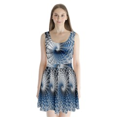 Mandelbrot Fractal Abstract Ice Split Back Mini Dress
