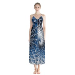 Mandelbrot Fractal Abstract Ice Button Up Chiffon Maxi Dress