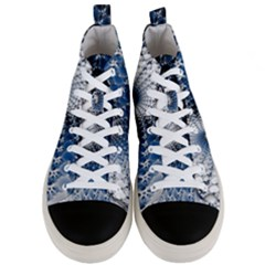 Mandelbrot Fractal Abstract Ice Men s Mid Top Canvas Sneakers