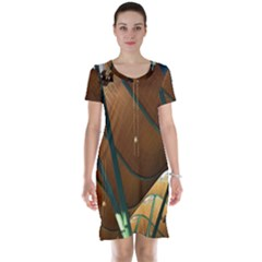 Airport Pattern Shape Abstract Short Sleeve Nightdress