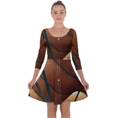 Airport Pattern Shape Abstract Quarter Sleeve Skater Dress