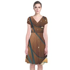 Airport Pattern Shape Abstract Short Sleeve Front Wrap Dress