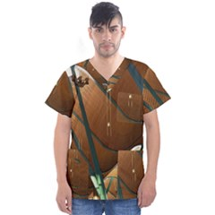 Airport Pattern Shape Abstract Men s V Neck Scrub Top