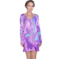 Abstract Art Texture Form Pattern Long Sleeve Nightdress