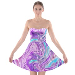 Abstract Art Texture Form Pattern Strapless Bra Top Dress