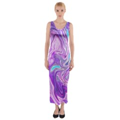 Abstract Art Texture Form Pattern Fitted Maxi Dress