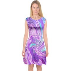 Abstract Art Texture Form Pattern Capsleeve Midi Dress