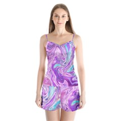 Abstract Art Texture Form Pattern Satin Pajamas Set