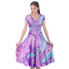 Abstract Art Texture Form Pattern Cap Sleeve Wrap Front Dress