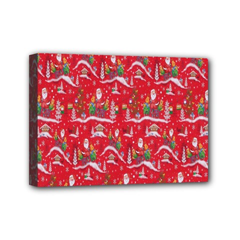 Red Background Christmas Mini Canvas 7  X 5