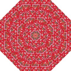 Red Background Christmas Hook Handle Umbrellas (medium)