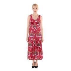 Red Background Christmas Sleeveless Maxi Dress