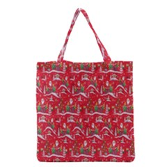 Red Background Christmas Grocery Tote Bag