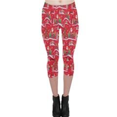 Red Background Christmas Capri Leggings