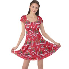 Red Background Christmas Cap Sleeve Dress