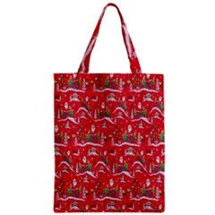 Red Background Christmas Zipper Classic Tote Bag