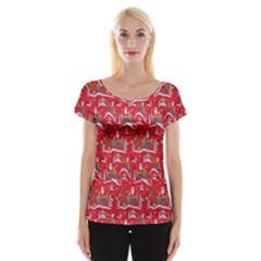 Red Background Christmas Cap Sleeve Tops