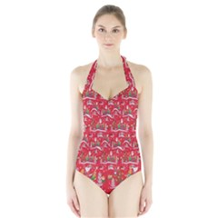 Red Background Christmas Halter Swimsuit