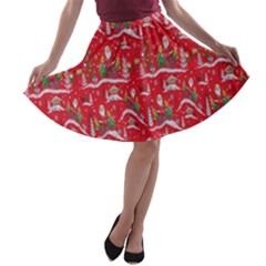 Red Background Christmas A Line Skater Skirt